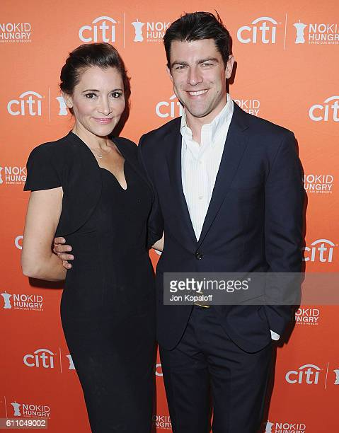 Actor Max Greenfield and wife Tess Sanchez arrive at the Los Angeles' No Kid Hungry Dinner on September 28 2016 in Los Angeles California