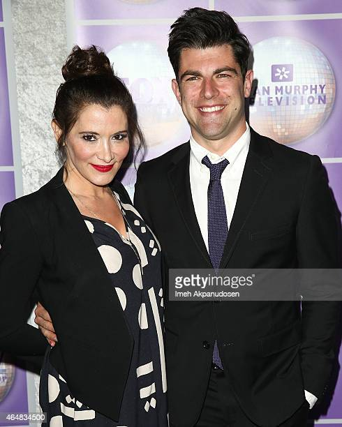 Actor Max Greenfield and wife Tess Sanchez attend the Family Equality Council's Los Angeles Awards Dinner at The Beverly Hilton Hotel on February 28...