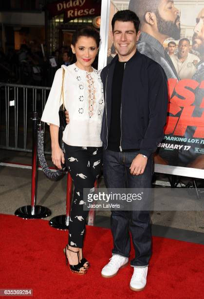 Actor Max Greenfield and wife Tess Sanchez attend the premiere of Fist Fight at Regency Village Theatre on February 13 2017 in Westwood California