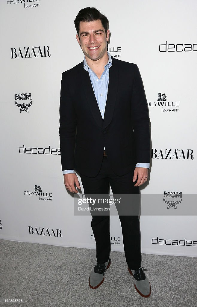 Actor Max Greenfield attends the Harper's BAZAAR celebration of Cameron Silver and Christos Garkinos of Decades new Bravo series 'Dukes of Melrose' at The Terrace at Sunset Tower on February 28, 2013 in West Hollywood, California.