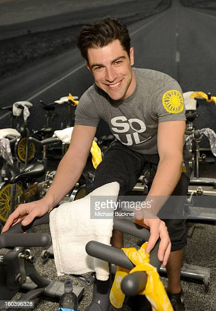 Actor Max Greenfield instructs Glamour Magazine's SoulCycle ride to benefit Milk Bookies at SoulCycle on January 30 2013 in West Hollywood California