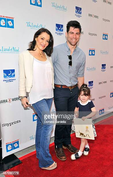 Actor Max Greenfield wife Tess Sanchez and daughter Lily attend MILK BOOKIES Fifth Annual Story Time Celebration at Skirball Cultural Center on April...