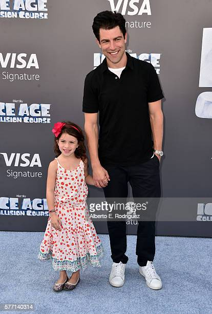 Actor Max Greenfield with daughter Lilly Greenfield attend the screening of Ice Age Collision Course at Zanuck Theater at 20th Century Fox Lot on...