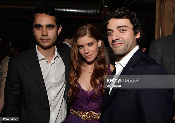 Actor Max Minghella Actress Kate Mara and Actor Oscar Isaac attend the Ten Year dinner hosted by GREY GOOSE Vodka at Soho House Pop Up Club during...