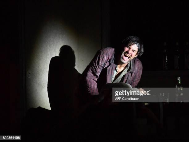 Actor Max Simonischek performs in the rehearsal of Harold Pinter's 'Die Geburtstagsfeier' in Salzburg on July 25 2017 during the 2017 Salzburg...