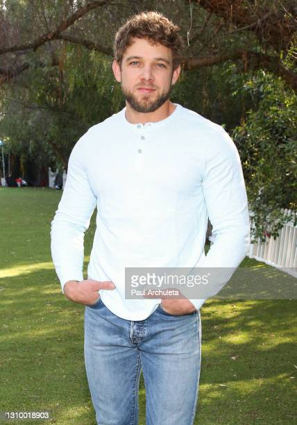 """Actor Max Thieriot visits Hallmark Channel's """"Home & Family"""" at Universal Studios Hollywood on March 30, 2021 in Universal City, California."""