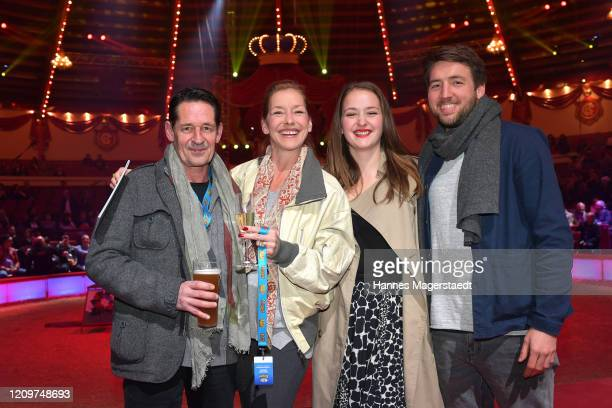 Actor Max Tidof his partner Lisa Seitz and their daughter Luzie wit partner Julian Vogt during the third show premiere of the winter season as part...