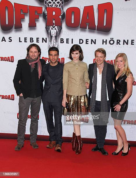 Actor Max von Pufendorf actress Nora Tschirner actor Elyas M'Barek and actress Nele Kiper attend the Offroad Germany Premiere at the Kulturbrauerei...