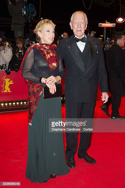 Actor Max von Sydow and Catherine Brelet attend the Extremely Loud And Incredibly Close Premiere during the 62nd Berlin International Film Festival,...