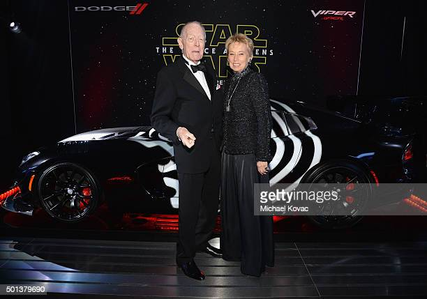 Actor Max von Sydow and producer Catherine Brelet arrive at the premiere of Walt Disney Pictures' and Lucasfilm's Star Wars The Force Awakens...