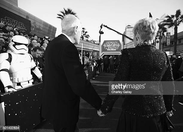 "Actor Max von Sydow and producer Catherine Brelet attend the World Premiere of ""Star Wars The Force Awakens"" at the Dolby El Capitan and TCL Theatres..."