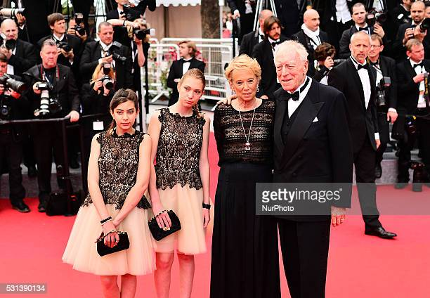 Actor Max Von Sydow and wife Catherine Brelet attend 'The BFG ' premiere during the 69th annual Cannes Film Festival at the Palais des Festivals on...