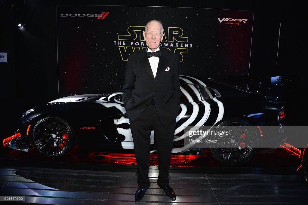 Actor Max von Sydow arrives at the premiere of Walt Disney Pictures' and Lucasfilm's 'Star Wars: The Force Awakens', sponsored by Dodge, at the Dolby Theatre, TCL Chinese Theatre and El Capitan Theatre on December 14, 2015 in Hollywood, California.