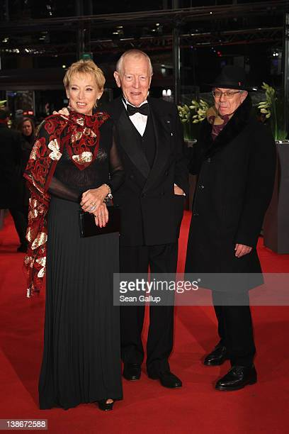 Actor Max von Sydow Catherine Brelet and Dieter Kosslick attend the Extremely Loud And Incredibly Close Premiere during day two of the 62nd Berlin...