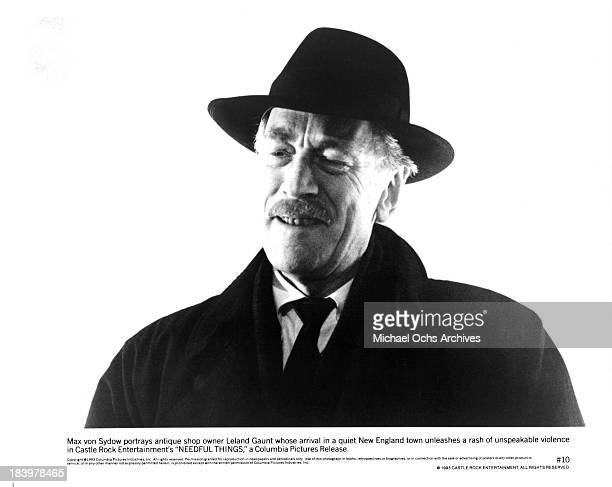 Actor Max von Sydow on set of the Castle Rock Entertainment movie Needful Things in 1993