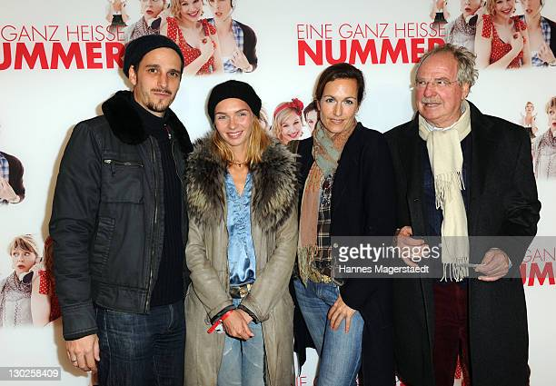 """Actor Max von Thun and his girlfriend Kim, Gioia von Thun and Friedrich von Thun attend """"Eine Ganz Heisse Nummer"""" Germany premiere at the Mathaeser..."""