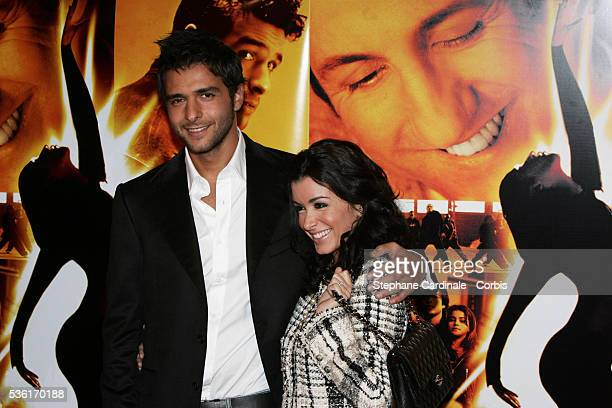Actor Maxim Nucci and future wife singer Jenifer Bartoli arrive at the premiere of the movie 'Alive' directed by Frédéric Berthe