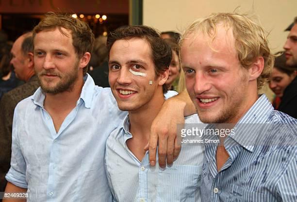 Actor Maximilian Brueckner and his brothers Xaver Brueckner and Florian Bruecker attend the 'Raeuber Kneissl' film premiere at Odeonsplatz Filmcasino...
