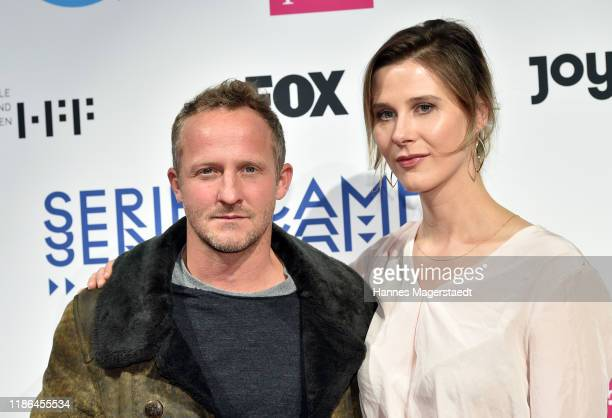 Actor Maximilian Brueckner and Katrin Roever attend the Hindafing Season 2 photo call at HFF Muenchen on November 08 2019 in Munich Germany
