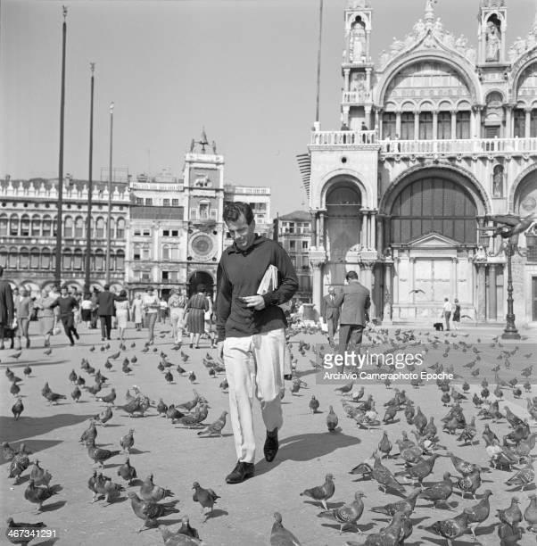 Actor Maximilian Schell walks in St Mark's Square Venice 1968