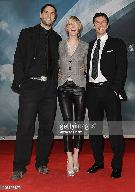 Actor Maximilian Simonischek actress Lauren Lee Smith and director Philipp Kadelbach arrive for the Hindenburg premiere at Kosmos theater on January...