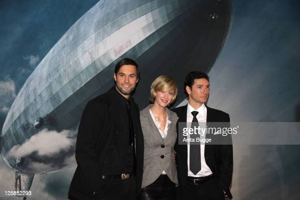 Actor Maximilian Simonischek actress Lauren Lee Smith and director Philipp Kadelbach arrive at the Kosmos movie theater for the Hindenburg premiere...