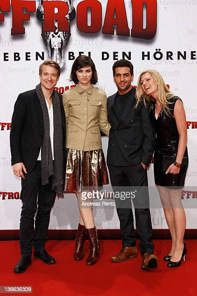 Actor Maximilian von Pufendorf actress Nora Tschirner actor Elyas M'Barek and actress Nele Kiper attend the 'Offroad' premiere at cinema...
