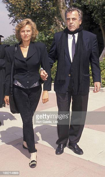 Actor Maximillian Schell and Natasha Schell attend Sammy Davis Jr Funeral Service on May 18 1990 at Forest Lawn Cemetery in Los Angeles California