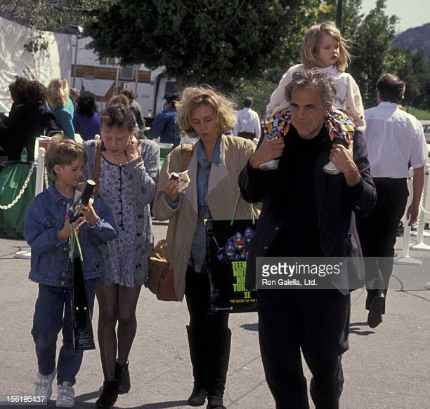 Actor Maximillian Schell Natasha Schell and family attend the premiere of Teenage Mutant Ninja Turtles 2 on March 17 1992 at the Cineplex Odeon...