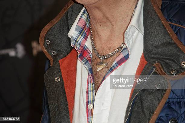 Actor Maximo Valverde necklace detail attends the 'Que Dios nos perdone' photocall at Capitol cinema on October 26 2016 in Madrid Spain