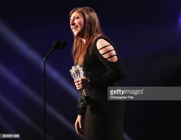Actor Mayim Bialik accepts Best Supporting Actress in a Comedy Series for 'The Big Bang Theory' onstage during The 23rd Annual Critics' Choice Awards...