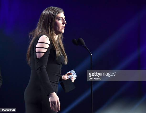 Actor Mayim Bialik accepts Best Supporting Actress in a Comedy Series for 'The Big Bang Theory' at The 23rd Annual Critics' Choice Awards at Barker...