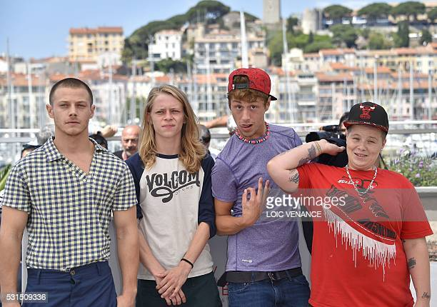 US actor Mccaul Lombardi US actor Isaiah Stone US actor Raymond Coalson and US actress Veronica Ezell pose on May 15 2016 during a photocall for the...