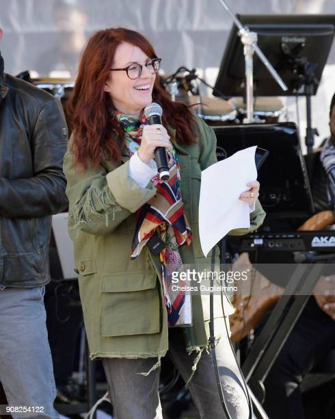 Actor Megan Mullally speaks during the Women's March Los Angeles 2018 on January 20 2018 in Los Angeles California