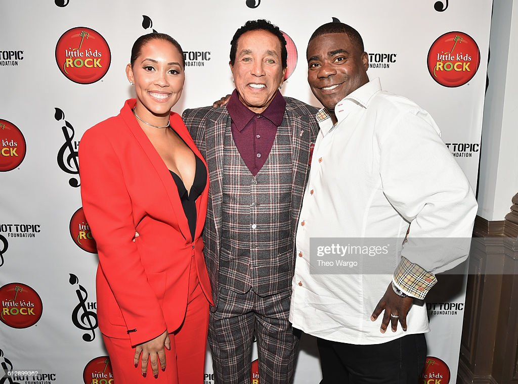 Actor Megan Wollover, Singer-songwriter Smokey Robinson and actor Tracy Morgan attend Little Kids Rock Benefit 2016 at Capitale on October 5, 2016 in New York City.
