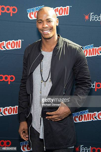 Actor Mehcad Brooks poses in the press room for the 'Supergirl' panel during Comic Con Day 4 at The Jacob K Javits Convention Center on October 11...