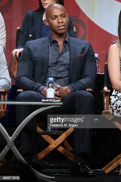 Actor Mehcad Brooks speaks onstage during the 'Supergirl' panel discussion at the CBS portion of the 2015 Summer TCA Tour at The Beverly Hilton Hotel...