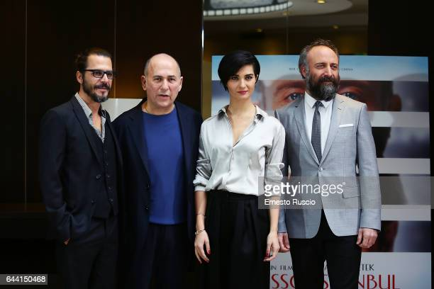Actor Mehmet Gunsur director Ferzan Ozpetek actress Tuba Buyukustun and actor Halit Ergenc attend a photocall for 'Rosso Istanbul' on February 23...