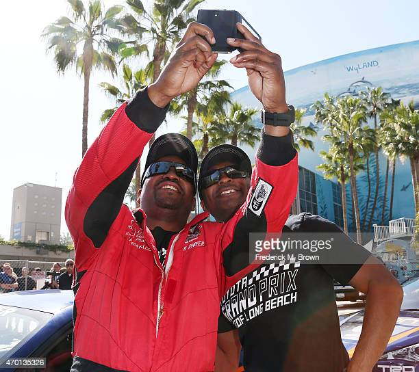 Actor Mekhi Phifer and professional race car drive Antron Brown attend the 38th Annual Toyota Pro/Celebrity Race during the Grand Prix of Long Beach...