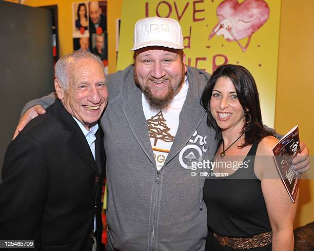 Actor Mel Brooks actor Stephen Kramer Glickman and writer Michelle Kholos Brooks arrive at Open Night Premiere of the Play Love And Other Allergies...