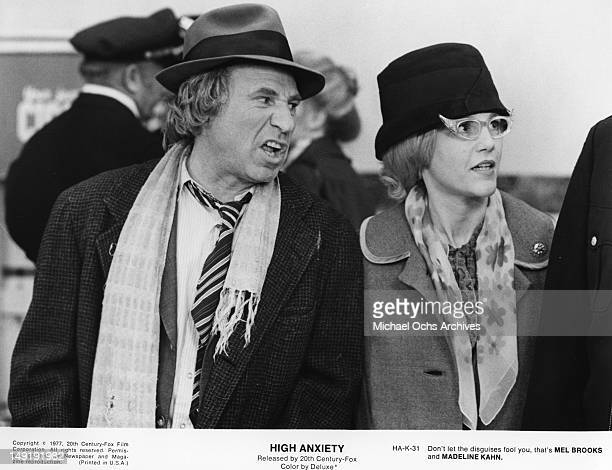 Actor Mel Brooks and Madeline Kahn wear disguises in a scene from the movie High Anxiety which was released in 1977