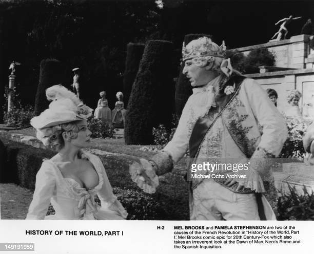 Actor Mel Brooks and Pamela Stephenson in a scene from the movie 'History Of The World Part I' which was released in 1981