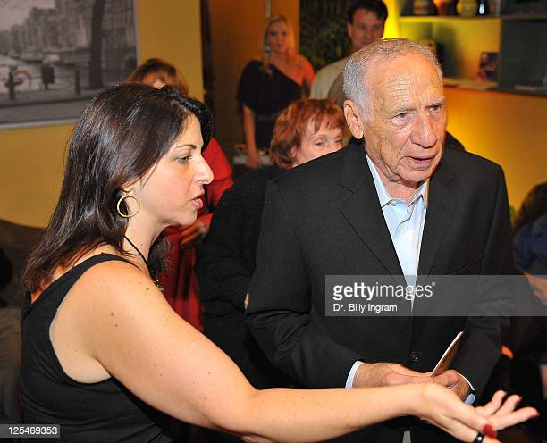 Actor Mel Brooks and writer Michelle Kholos Brooks arrive at Open Night Premiere of the Play Love And Other Allergies at the Lounge Theater on...