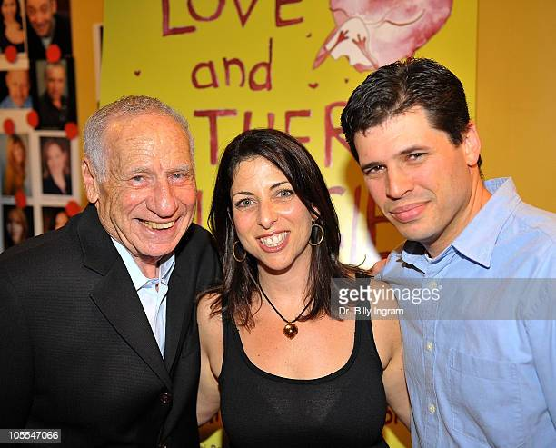 Actor Mel Brooks writer Michelle Kholos Brooks and author Max Brooks arrive at Open Night Premiere of the Play Love And Other Allergies at the Lounge...