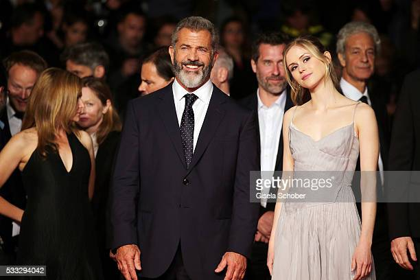 Actor Mel Gibson and actress Erin Moriarty attend the Blood Father Premiere during the 69th annual Cannes Film Festival at the Palais des Festivals...