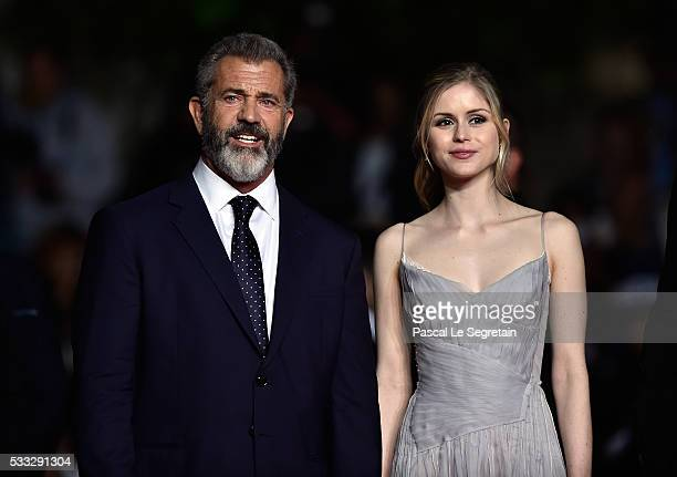 Actor Mel Gibson and actress Erin Moriarty attend the screening of Blood Father at the annual 69th Cannes Film Festival at Palais des Festivals on...
