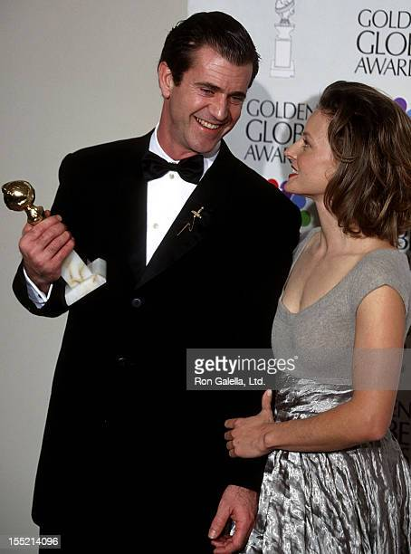 Actor Mel Gibson and actress Jodie Foster attend the 53rd Annual Golden Globe Awards on January 21 1996 at Beverly Hilton Hotel in Beverly Hills...