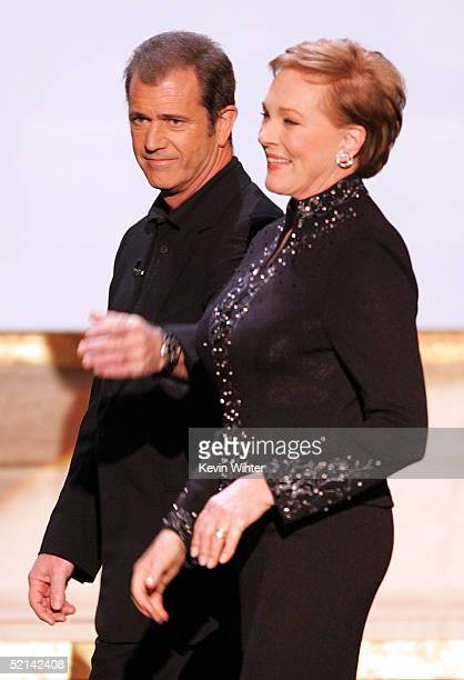 Actor Mel Gibson and Actress Julie Andrews onstage during the 11th Annual Screen Actors Guild Awards at the Los Angeles Shrine Exposition Center on...