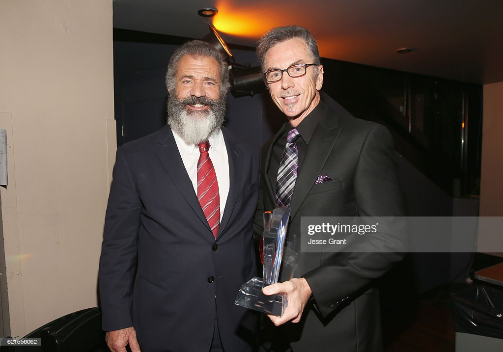 Actor Mel Gibson and Honoree Kevin O'Connell attend the Hamilton Behind The Camera Awards presented by Los Angeles Confidential Magazine at Exchange LA on November 6, 2016 in Los Angeles, California.