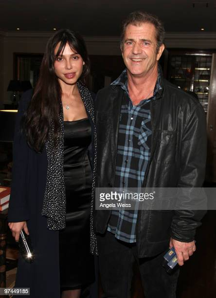 Actor Mel Gibson and Oksana Grigorieva attend The Hollywood Reporter's and the Mayor of Los Angeles' Oscar Nominees' Night presented by Bing and MSN...